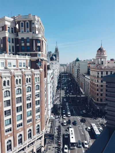 💛GRAN VÍA💛Building Exterior Architecture Built Structure Transportation Car Mode Of Transport Land Vehicle City Blue Clear Sky Road Street Travel Destinations City Street City Life Building Story Sky Outdoors Day No People