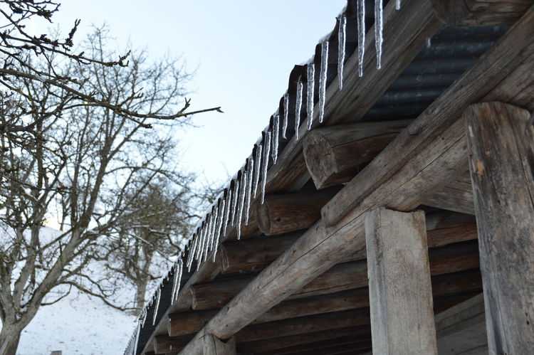 Building Exterior Cold Temperature Iceicles Nature Sky Snow Winter Wood - Material