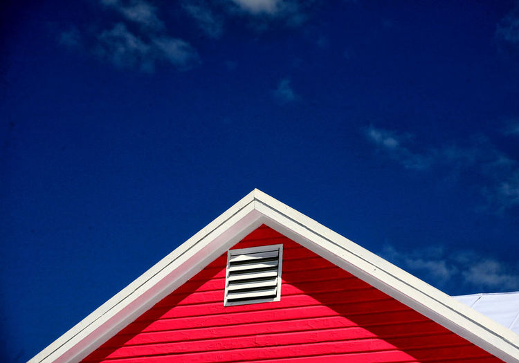 Red roof Architecture Blue Building Exterior Built Structure Day Low Angle View No People Outdoors Red Roof Sky Tiled Roof  Triangle Shape