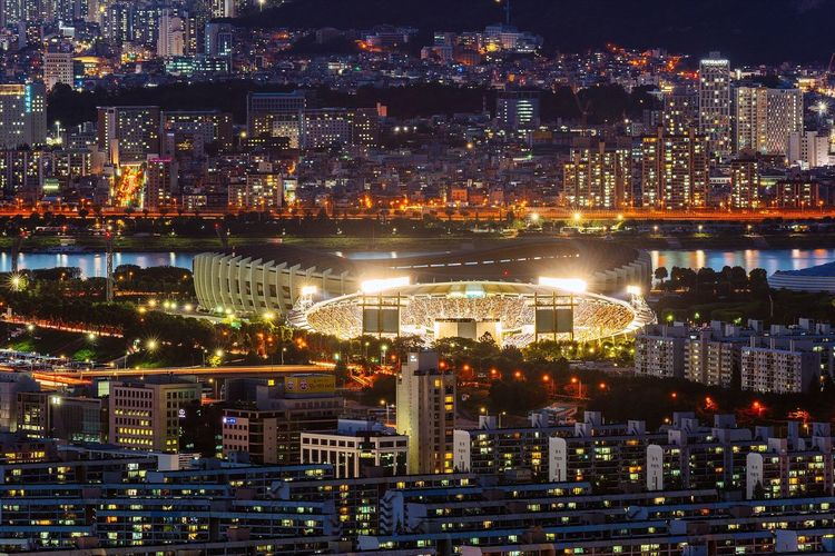 Seoul City Landscape Cityscape Stadium Night Night View Nightscape with Sony A7R and Canon EF100-400 F4.5-5.6L IS II USM