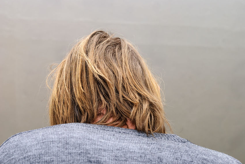 Back view on man with long hair Adult Back View Blond Blond Hair Close-up Grey Hair Headshot Human Body Part Human Hair Long Hair Male Man One Person Rear View Shirt