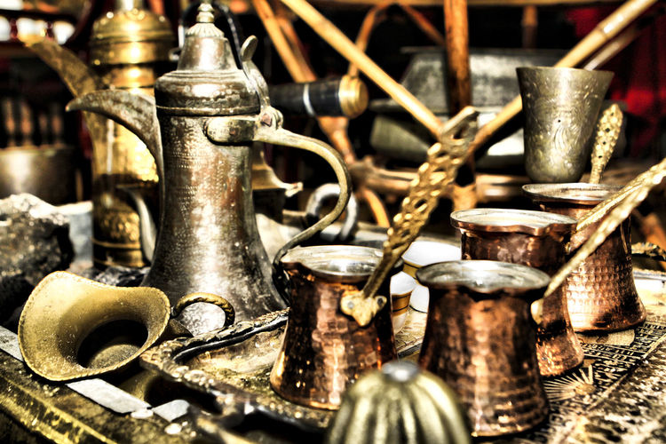 Antique Arabian Abundance Antique Art Choice Close-up Copper  Day Equipment History Indoors  Large Group Of Objects Metal No People Obsolete Old Roman Rusty Silver Colored Still Life The Past Utinsels Variation Vintage The Traveler - 2018 EyeEm Awards