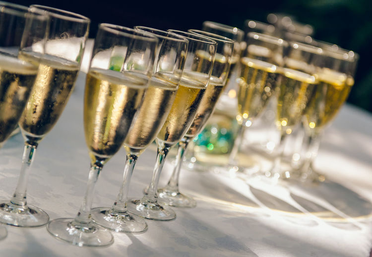 Champagne Flutes Arranging On Table At Wedding
