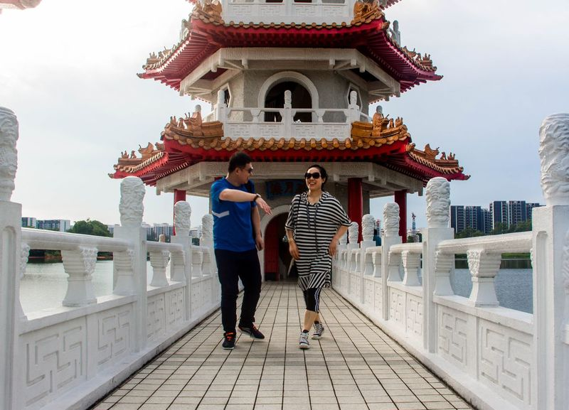 Chinese Garden Couple Shoot Two People Togetherness Full Length Adult People Adults Only Architecture