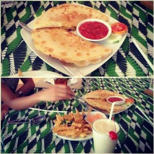 Bananashake Pizza Quesadillas Fries ChicoCafeDaoDiamond ????? ofcourse with jam. ??