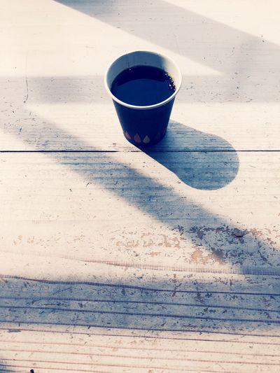 Coffee Coffee Cup Drink High Angle View Sunlight Shadow Wood - Material Day Coffee Japan