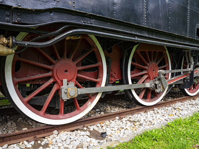 Low angle view of train on railroad track