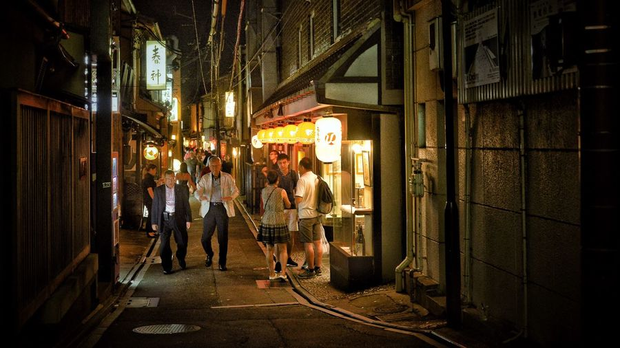 After Dinner Japan Photography Japan Kyoto,japan Kyoto Architecture Built Structure Real People Illuminated Night Men Group Of People City Lifestyles Leisure Activity People Street Walking