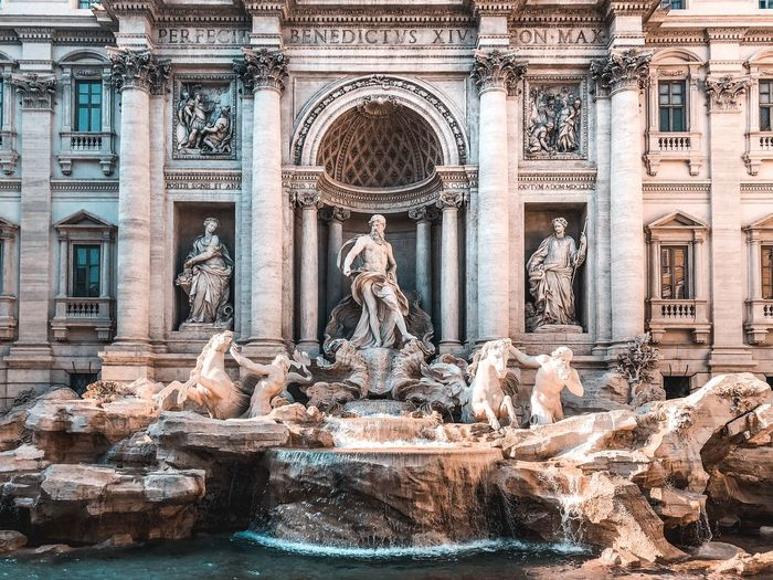 Fontata di Trevi Trevi Fountain Italy Rome Architecture Built Structure Religion History The Past Art And Craft My Best Travel Photo Travel Destinations Day Travel No People Sculpture Creativity Architectural Column Representation Building Exterior Tourism