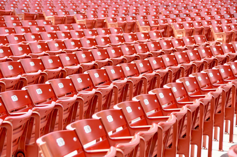 EyeEm Best Shots EyeEm Gallery Abundance Arrangement Audience Audience Point Of View Auditorium Backgrounds Chair Day Empty Full Frame In A Row Indoors  Large Group Of Objects No People Number Pattern Red Red Color Seat Seats Stadium Urban The Week On EyeEm