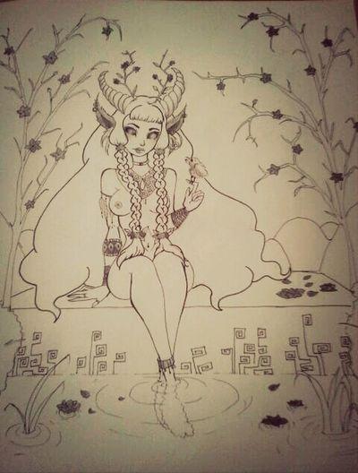 Je me suis appliqué pour celui ci ^^ dessin d'une femme creature inspirée de la mythologie Draw Amazone Mythologie Illustration