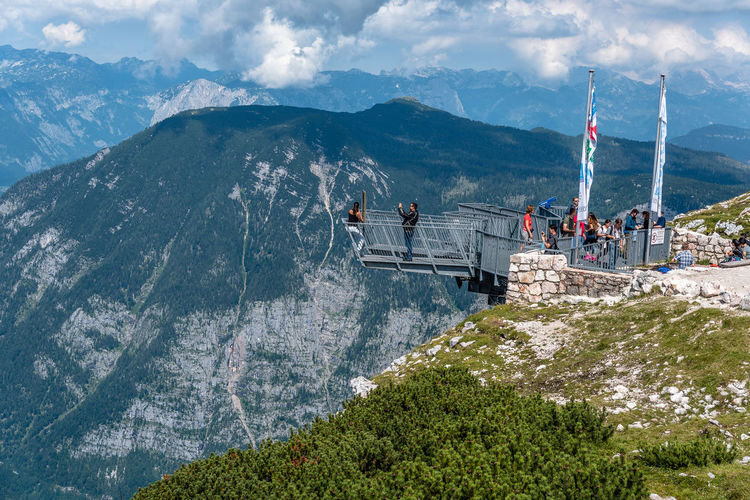 Five Fingers viewpoint over Hallstatt Five Fingers Sightseeing Architecture Beauty In Nature Bridge - Man Made Structure Built Structure Cloud - Sky Day Hallstatt High Angle View Landscape Mountain Mountain Range Nature Outdoors Point Of View Real People Scenics Sky Tree Viewpoint Water