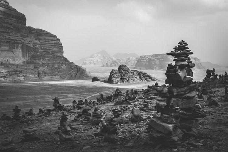 The desert of wadi rum in black and white
