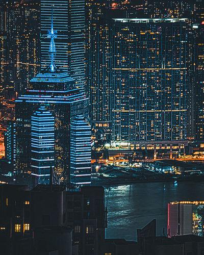 Illuminated modern building in city at night