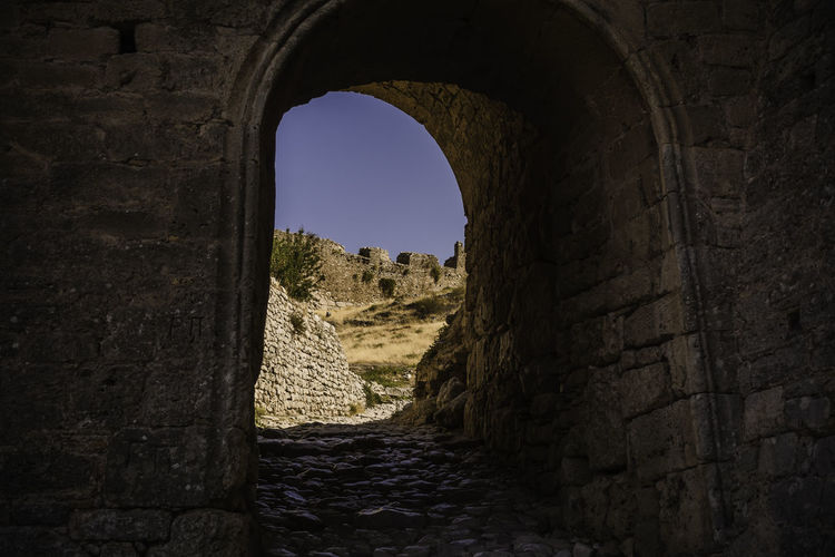 gate.. Ancient Acrocorinth Ancient History Arch Architecture Built Structure Castle Castle Ruin Castle Walls Clear Sky Cultures Day Fort Gate Greece History Indoors  Medieval Nature No People Old Ruin Sky Travel Ancient Civilizations Travel Destinations