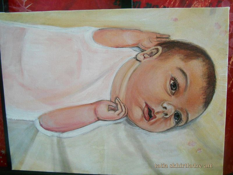 my painting Baby Baby ❤ BabyE Beautiful Beautiful Day Colour Cute Cute Baby Day Looking At Camera My Paintings One Person Painting Painting Art Paintings Portrait Portrature Porträt Real People