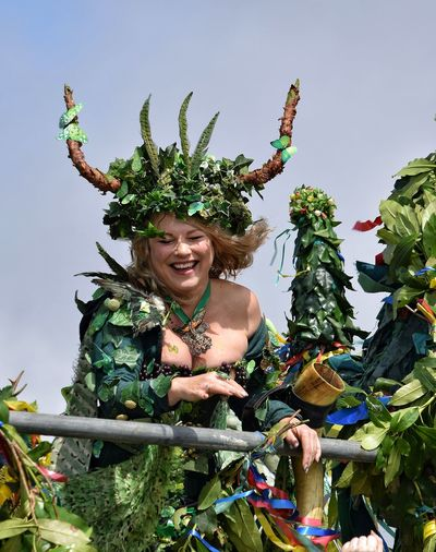 May Day 2017 Jack In The Green Jack In The Green Festival May May Day Hastings East Sussex Headdress Feather  Happiness Adult Only Women Outdoors One Woman Only Day Multi Colored Real People Pagan Pagan Festival Focus On Foreground Standing Live For The Story Sheer Happiness Smiling Crown