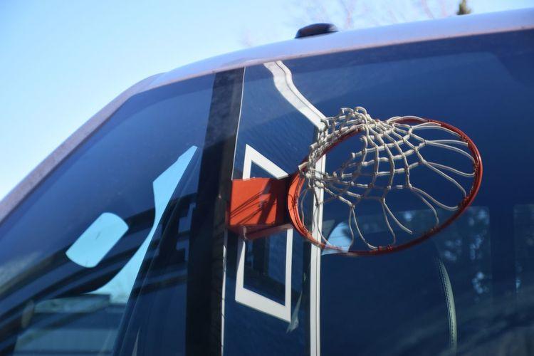 Basket Ball Basketball Hoop Basketball Hoop Reflection Hoop Hoop Net No People Outdoors Reflection On Windscreen
