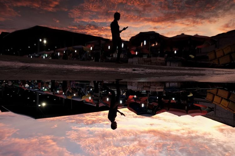 Refleksi at Angke Cloud - Sky Sky Sunset Mountain Outdoors Architecture Built Structure People