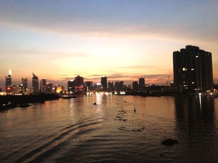 Sunset at Saigon River Thu Thiem Saigon Building Exterior Water Built Structure City Architecture Sky Sunset