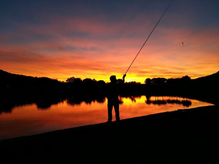 Lake Fishing Time Sun Relax Red Sunset Silhouette One Man Only Beauty In Nature Water Reflection Sky Love Perspectives On Nature