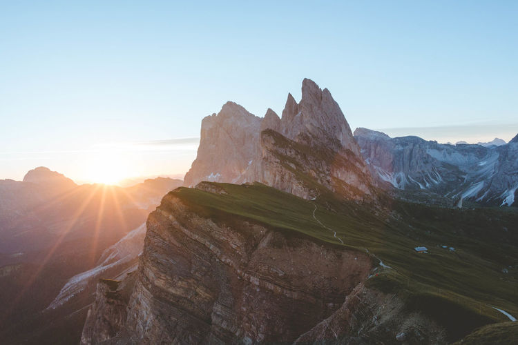 Beauty In Nature Bright Clear Sky Environment Formation Idyllic Landscape Lens Flare Mountain Mountain Peak Mountain Range Nature No People Non-urban Scene Outdoors Rock Rock - Object Scenics - Nature Sky Sun Sunbeam Sunlight Tranquil Scene Tranquility Summer Road Tripping The Traveler - 2018 EyeEm Awards