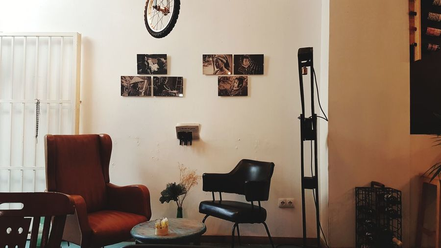 Pictures On The Wall Indoors  Home Interior Chair Living Room Floor Lamp Domestic Room Table Furniture Seat No People