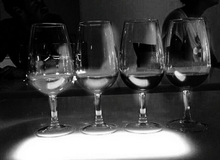 Just Bnw Blackandwhite Blanco Y Negro Blanco & Negro  Black&white Wine Glasses Light Reflection Food And Drink Still Life Wine Samples Noir Et Blanc Noir & Blanc  Light And Shadow Silhouettes Shine Bright 4 Four For