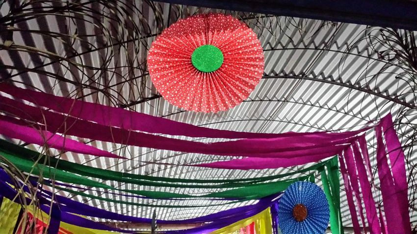 Low Angle View Multi Colored Built Structure Paper Decorations Place Of Heart