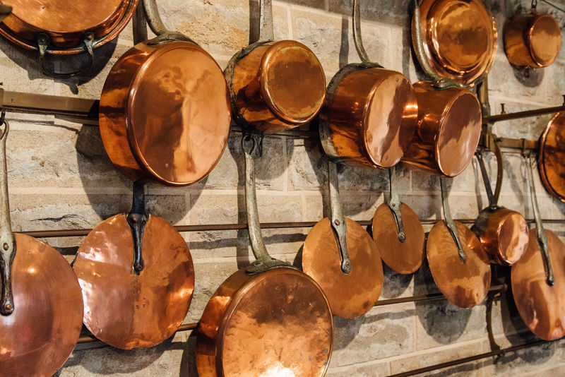Copper  Copper Pot Copper Pans Copper Cookware Old Vintage Cooking Kitchen kitchen utensils EyeEm Selects No People Indoors  Stack Day Large Group Of Objects Close-up
