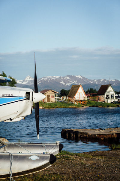 A-frame Alaskan Nature Anchorage Seaplane Air Vehicle Airplane Alaska Architecture Cloud - Sky Day Floatplane Lake Lakehood Lakehoodseaplanebase Mode Of Transportation Mountain Nature Nautical Vessel No People Outdoors Sky Sunlight Transportation Travel Water