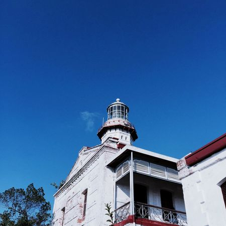 Cape Bojeador Lighthouse Hispanic Culture Old Philippinesphotography Philippines Philippines Ilocos Architecture Building Exterior Built Structure Low Angle View Blue Copy Space Clear Sky