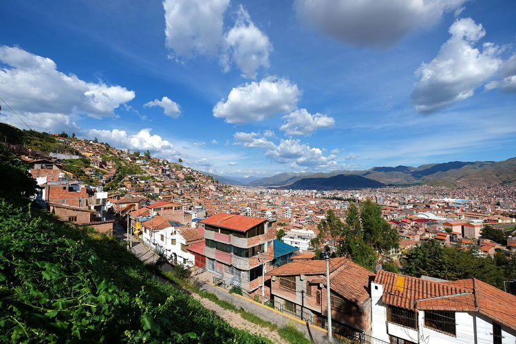 Cusco Valley Cusco Valley Town Landscape High Angle View Clouds And Sky Buildings Wide Angle Peru Day Adventure Serenity Mountain Mountain Range