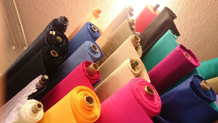 Telas Fabric Fabrics For Sale EyeEm Selects Multi Colored High Angle View Variation Close-up Display Shop Market Stall For Sale Market Various Collection Pile Stack