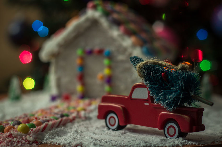 Gingerbread house Gingerbread Holiday Food Winter Snow Truck Gingerbreadhouse Gingerbread House Red Truck Background Christmas Bokeh Christmas Tree Christmas EyeEm Selects Treat Candy Cane Bokeh Candycane  Candy Holidays Night Before Christmas Food Toy Red Toy Car Multi Colored Figurine  Childhood Indoors  Christmas Decoration No People