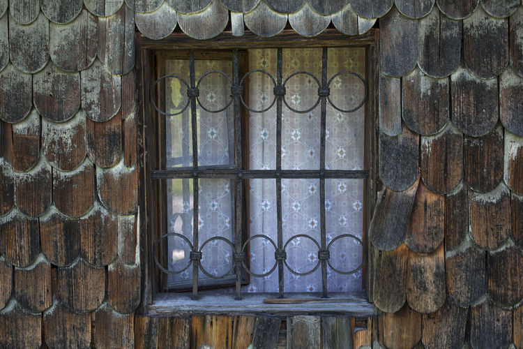 Close-up of window on old building