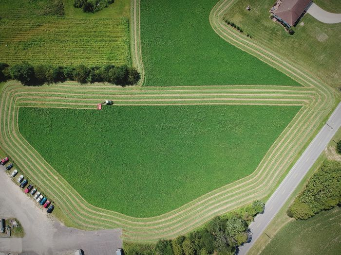 Aerial view of agricultural machinery on field
