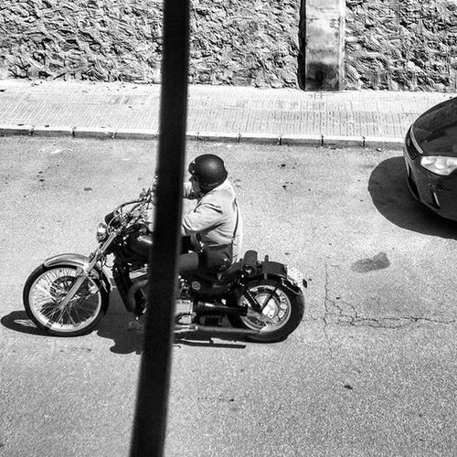 Biker Motorbike Motorcycle Viewfrommywindow Blackandwhitephotography Blackandwhite Bnw Bnw_maniac Bnwlovers Monochrome Bnw_lover Bnw_lovers Mono Streetphotography Streetphotography Blackandwhite_streetphotography