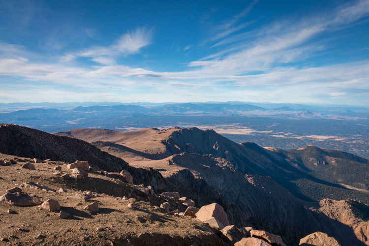 Scenic view to colorado landscape  seen from top of pikes peak against sky