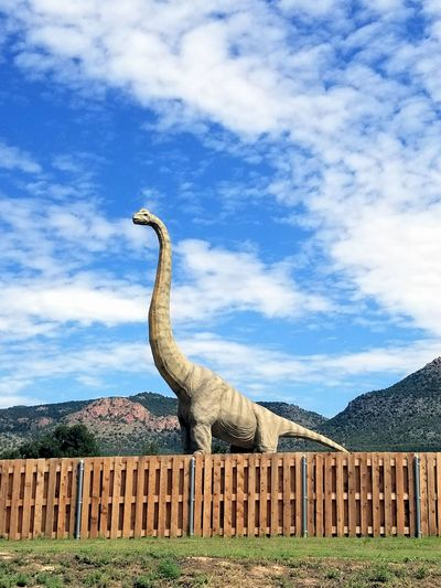 Cloud - Sky Sky Outdoors No People Day Grass Dinosaur Brontosaurus Thunder Lizard Leaf Eaters Real Looking Life-size Real Looking In Colorado Big Dinosaurs Amazing