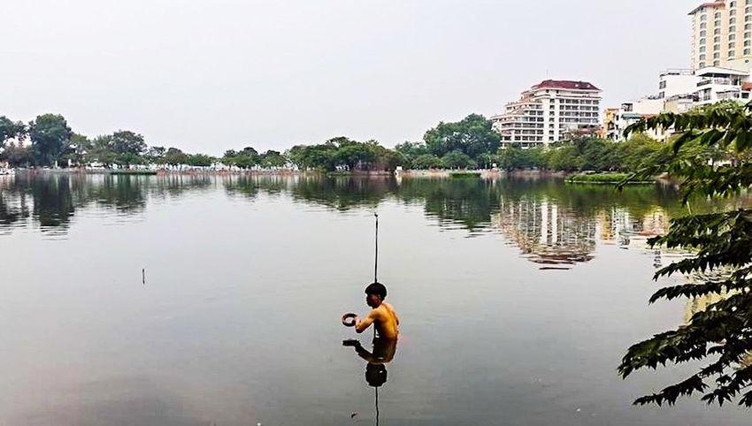 Fishing Hanoi, Vietnam Ba Dinh, Vietnam Truc Bach Amatuer Photographer Truc Bach Lake, Hanoi Wading