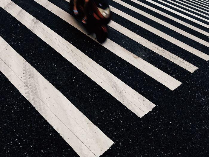 斑马线 Road Marking Marking Road Symbol Transportation Zebra Crossing Crossing City Crosswalk Sign Street White Color Low Section One Person High Angle View Body Part Asphalt Real People Striped Day