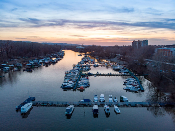 Water Sky Sunset High Angle View Cloud - Sky Nature Architecture Nautical Vessel Dusk Transportation City Building Exterior Built Structure River Winter No People Cold Temperature Mode Of Transportation Outdoors Cityscape Novisad Danube River Danube