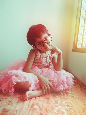 Child Eyeglasses  Sitting Childhood Full Length Females Old-fashioned Red Girls Redhead