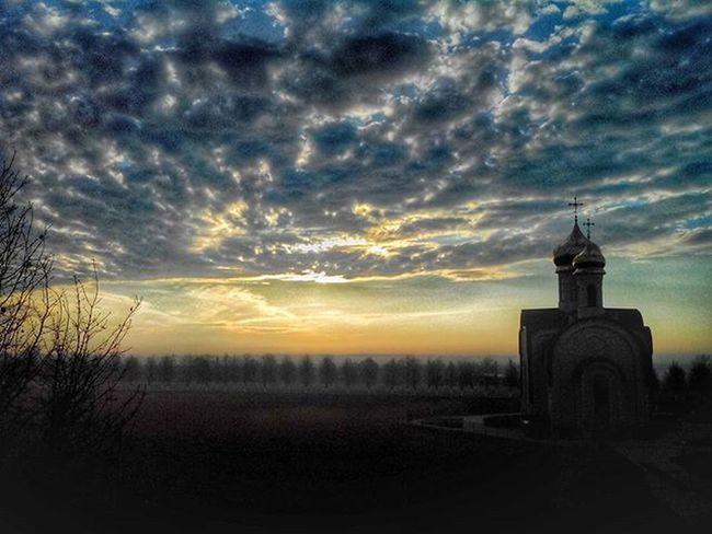 Утро прекрасное ))) беларусь Природа утро Церковь весна небо рассвет Belarus Nature Spring Sky Church Dawn