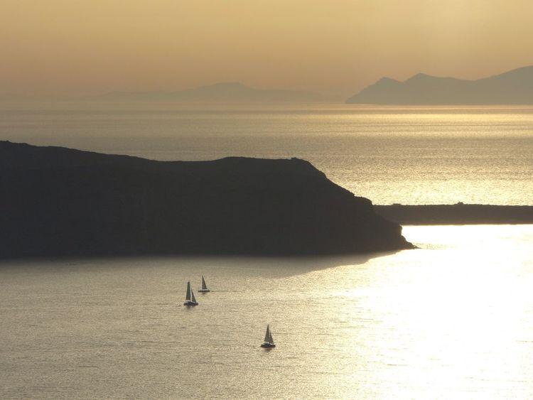 Sea Water Sunset Silhouette Sailing No Filter Island Mountain Sailboats Scenics