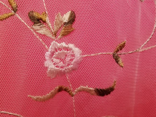 No People Textile Full Frame Pattern Close-up Indoors  Day Red Pink Pink Flower Embroidery