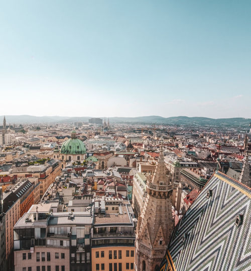High angle view of vienna cityscape