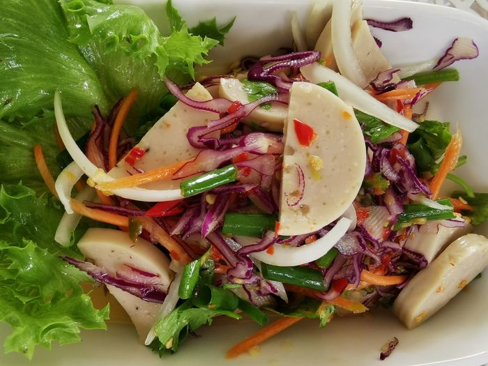 High angle view of chopped vegetables in plate
