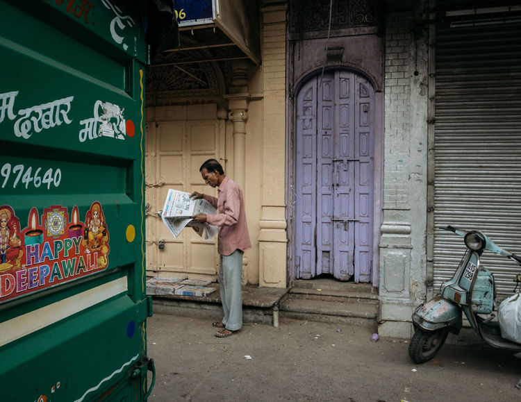 #Delhi #EyeEm #Incredible India #India #colourful #colours #indianstreets #news #newspaper Collector #old Delhi #oldschool #street #streets Colourful India Architecture Casual Clothing Day Full Length Indoors  Newdelhi One Person People Real People Standing Be. Ready.